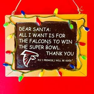 BOGO🆓 NFL Atlanta Falcons Dear Santa ORNAMENT NWT